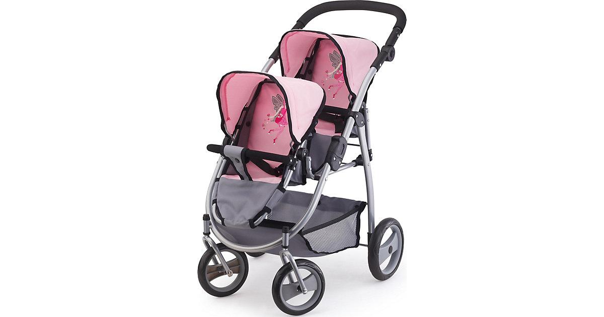 Zwillingspuppenwagen pink/grau