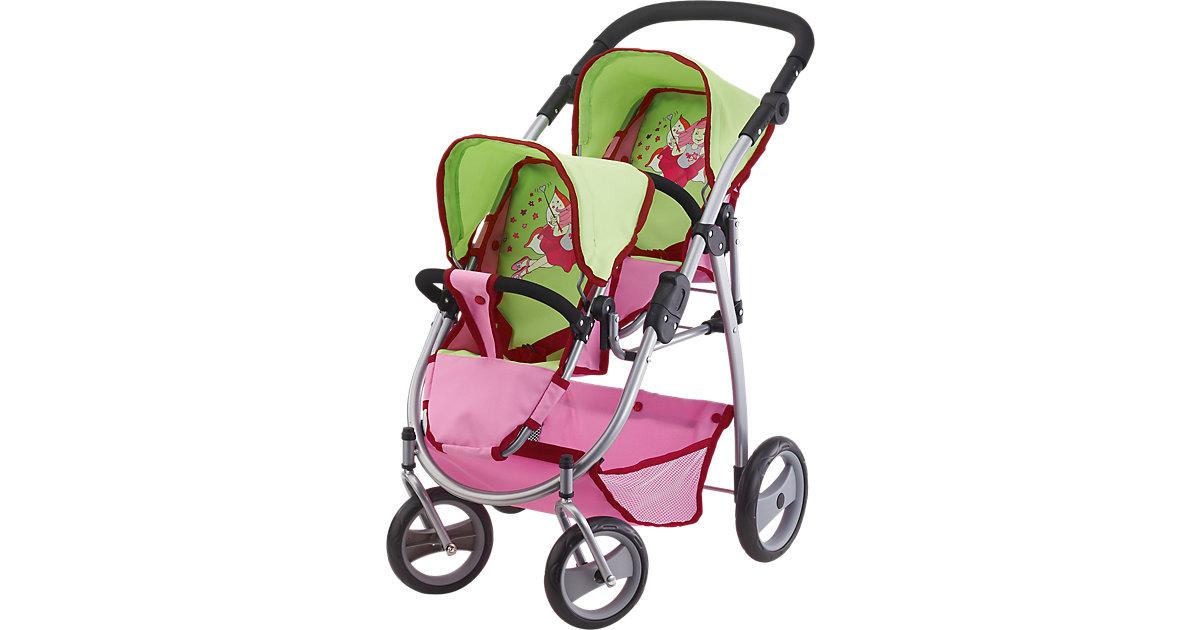 Zwillingspuppenwagen grün/pink