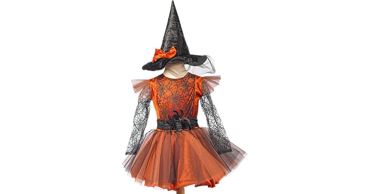 Kostüm Hexe Elfrida, 2-tlg. orange/schwarz Gr. 116/128 Mädchen Kinder