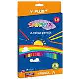 Набор цветных карандашей+точилка Y-Plus RAINBOW, 18 цв.