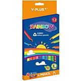 Набор утолщённых цветных карандашей+точилка Y-Plus RAINBOW, 12 цв.
