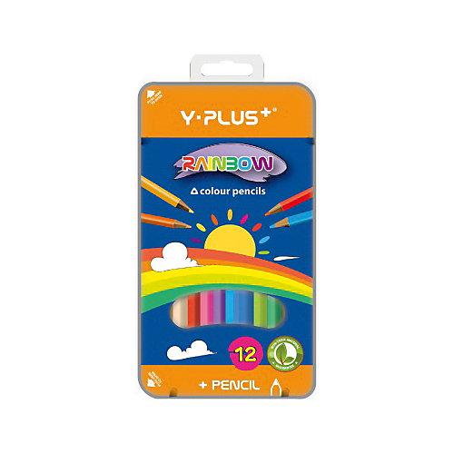 Набор цветных карандашей Y-Plus RAINBOW, 12 цв.