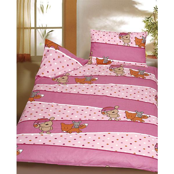 kinderbettw sche b rchen fuchs maus rosa biber 100 x 135 cm mytoys. Black Bedroom Furniture Sets. Home Design Ideas