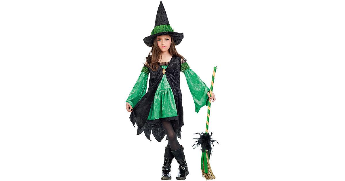 Kostüm Hexe grün, 2-tlg. schwarz/grün Gr. 128/140 Mädchen Kinder
