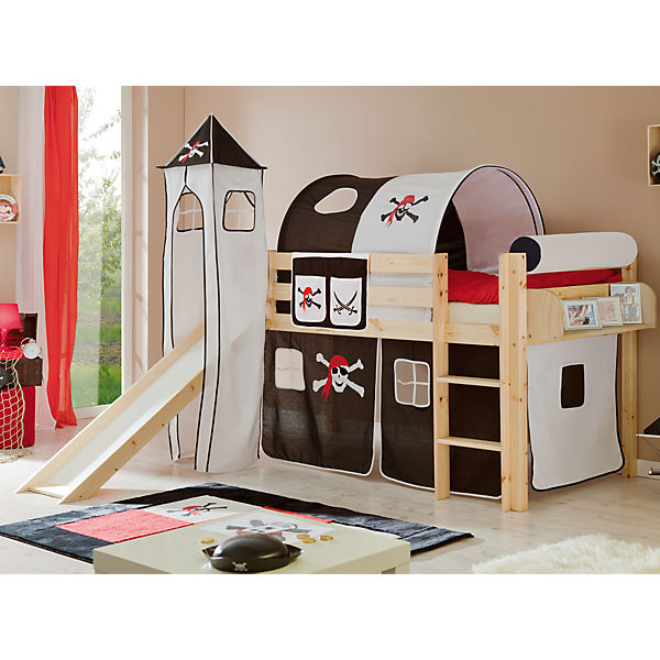spielbett mit turm kasper kiefer massiv natur pirat schwarz wei 90 x 200 cm ticaa mytoys. Black Bedroom Furniture Sets. Home Design Ideas