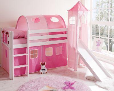 Puppen Etagenbett Mit Rutsche : Spielbett mit turm kasper kiefer massiv weiß rosa pink 90 x 200