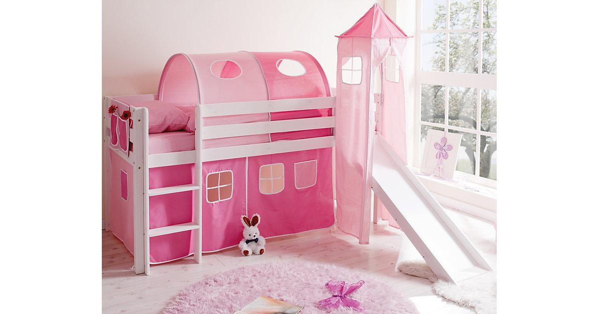 Spielbett mit Turm Kasper, Kiefer massiv, weiß, rosa-pink, 90 x 200 cm rosa/pink