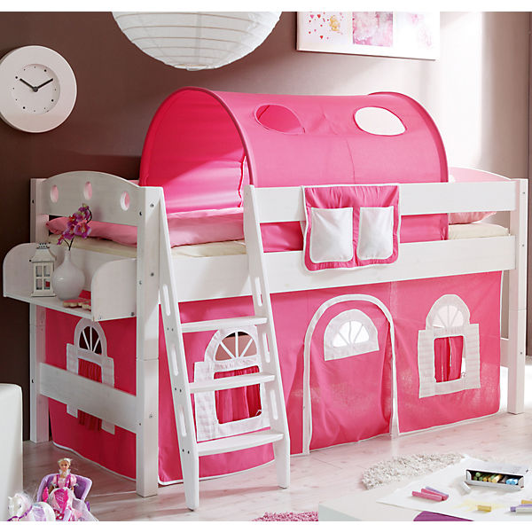 hochbett kenny r kiefer massiv wei rosa wei ticaa mytoys. Black Bedroom Furniture Sets. Home Design Ideas