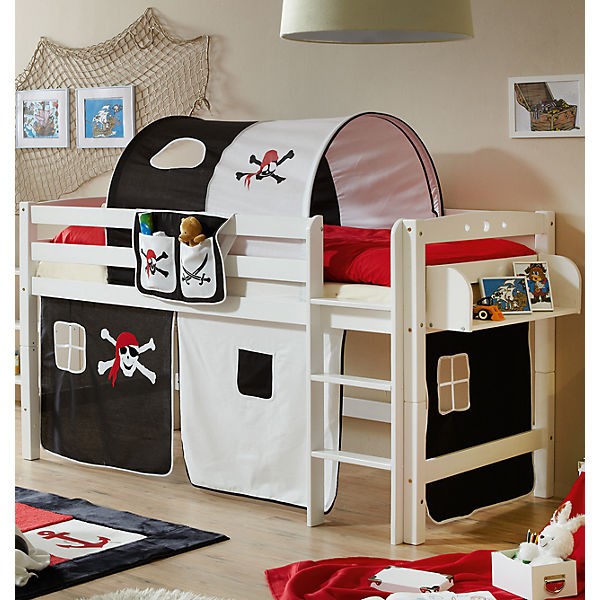 hochbett timmy r buche massiv wei pirat schwarz wei 90 x 200 cm ticaa mytoys. Black Bedroom Furniture Sets. Home Design Ideas