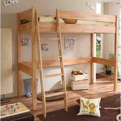 hochbett tolly buche massiv natur 90 x 200 cm ticaa mytoys. Black Bedroom Furniture Sets. Home Design Ideas