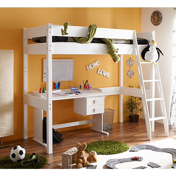 hochbett tolly g buche massiv wei 90 x 200 cm ticaa mytoys. Black Bedroom Furniture Sets. Home Design Ideas