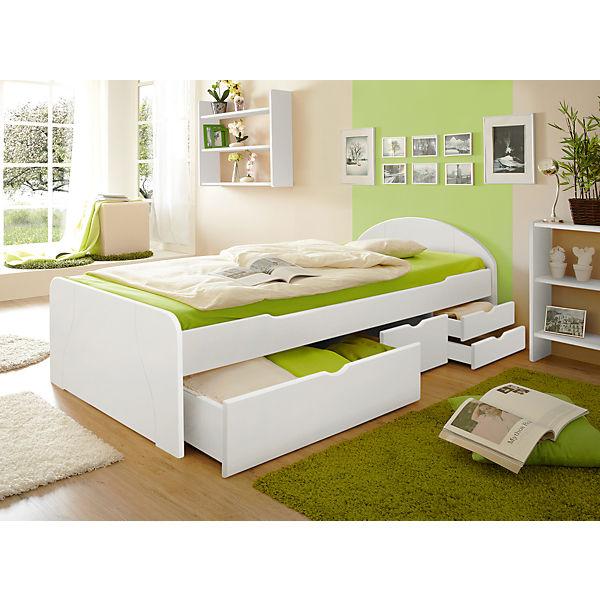 Sofabett Mit Schubkästen Erna Kiefer Massiv Weiß 90 X 200 Cm