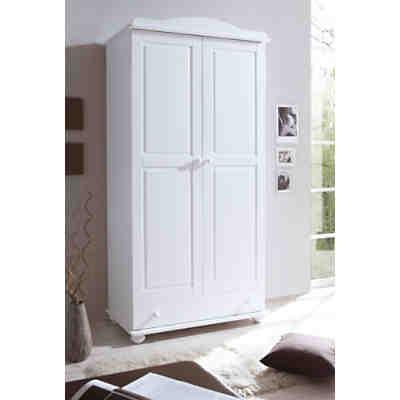 Kleiderschrank ADAM, 2-türig, Kiefer massiv, weiß, TICAA | myToys