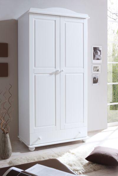Kleiderschrank weiß landhausstil 2 türig  Kleiderschrank Stodde, 3-türig., Kiefer massiv, weiß | myToys