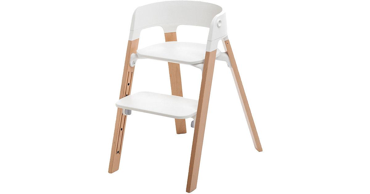 Stokke · Steps™ Hochstuhl, Sitz white inkl. Beine Buchenholz, natural
