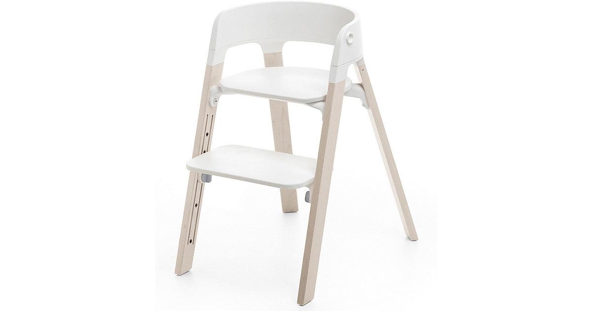 Stokke · Steps™ Hochstuhl, Sitz white inkl. Beine Buchenholz, white wash