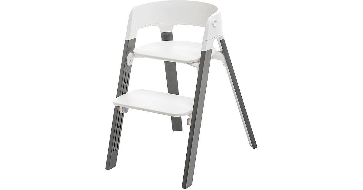 Stokke · Steps™ Hochstuhl, Sitz white inkl. Beine Buchenholz, strom grey