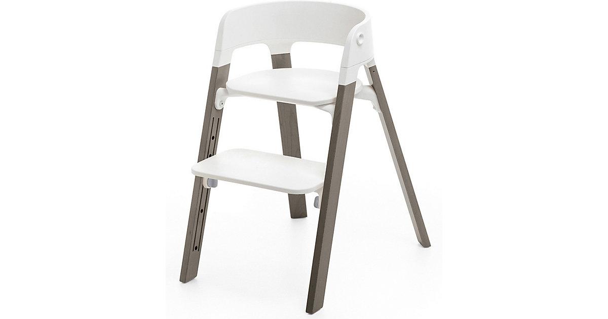 Stokke · Steps™ Hochstuhl, Sitz white inkl. Beine Buchenholz, hazy grey