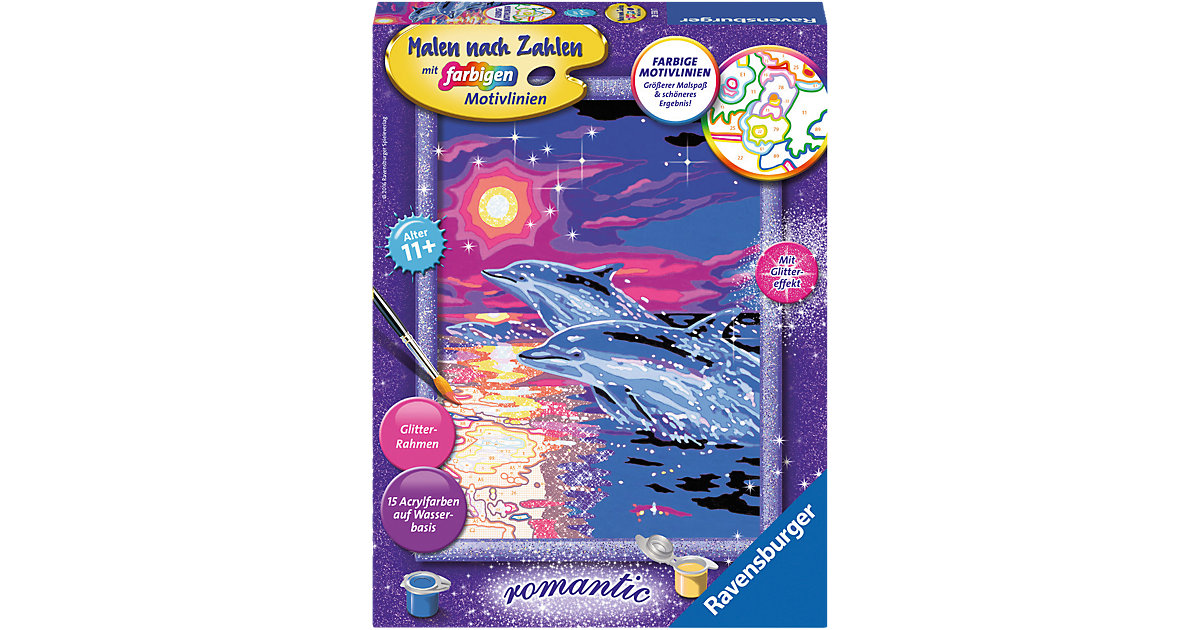 Malen nach Zahlen Delfine im Sonnenuntergang