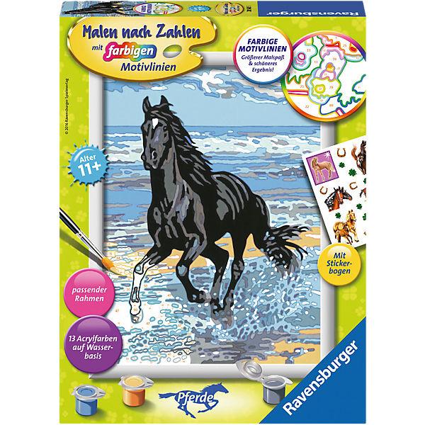 Malen Nach Zahlen 18x24 Cm Mit Farbigen Motivlinien Pferd Am Strand Ravensburger