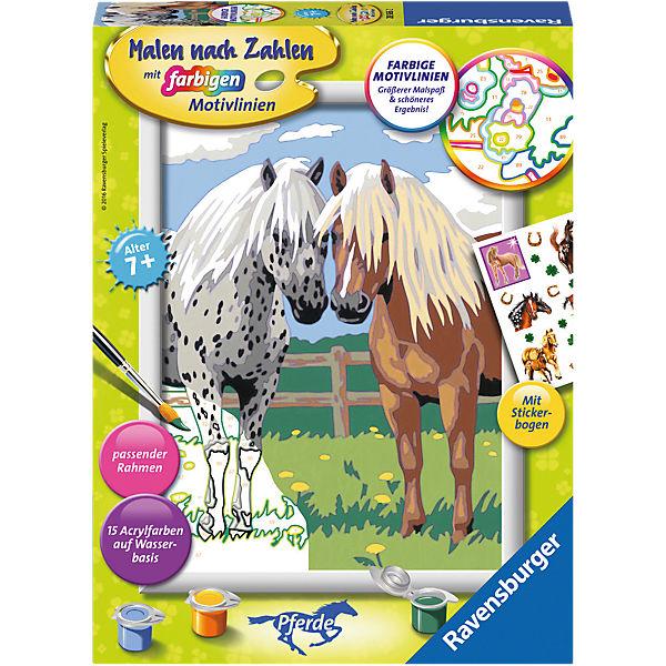 Malen Nach Zahlen 18x24 Cm Mit Farbigen Motivlinien Glückliche Pferde Ravensburger