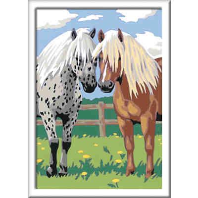 Malen Nach Zahlen 18x24 Cm Mit Farbigen Motivlinien Pferd Am Strand Ravensburger Mytoys