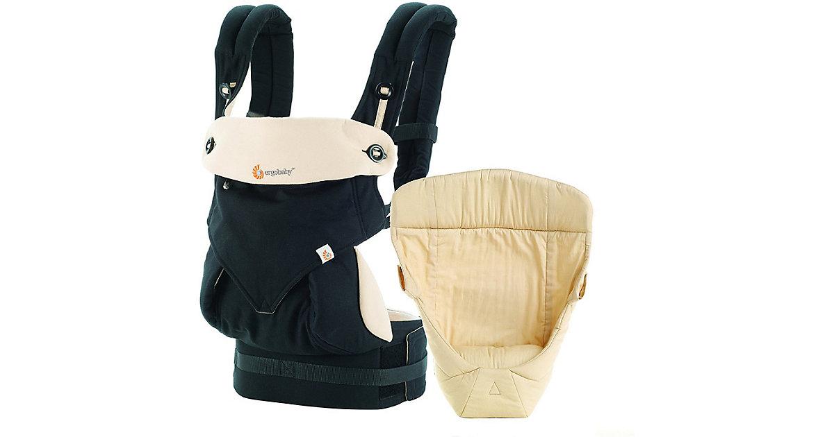 ERGO · Von-Geburt-an-Paket Babytrage 360°, Black/Camel, inkl. Neugeborenen-Einsatz