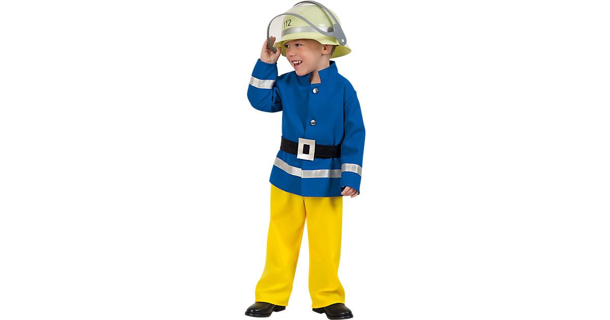 Kostüm Feuerwehrmann blau/gelb Gr. 116 Jungen Kinder
