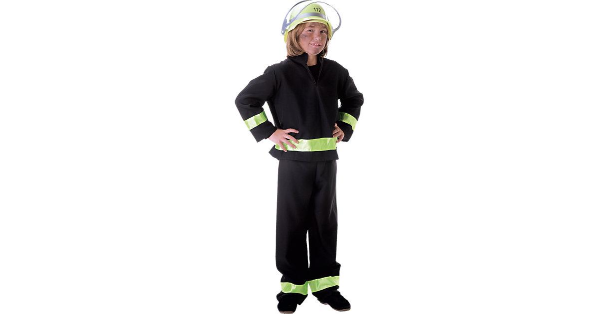 Kostüm Feuerwehrmann schwarz Gr. 128 Jungen Kinder