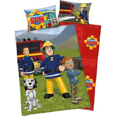 Wende- Kinderbettwäsche Feuerwehrmann Sam, Flanell, 100 x 135 cm,  Feuerwehrmann Sam