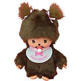 Мягкая игрушка Monchhichi Бэбичичи, девочка в розовом слюнявчике, 15 см