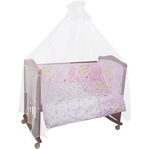 Комплект в кроватку 7 предметов Сонный гномик, Акварель, розовый от Сонный гномик