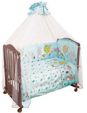 Комплект в кроватку 7 предметов Сонный гномик, Акварель, бирюзовый