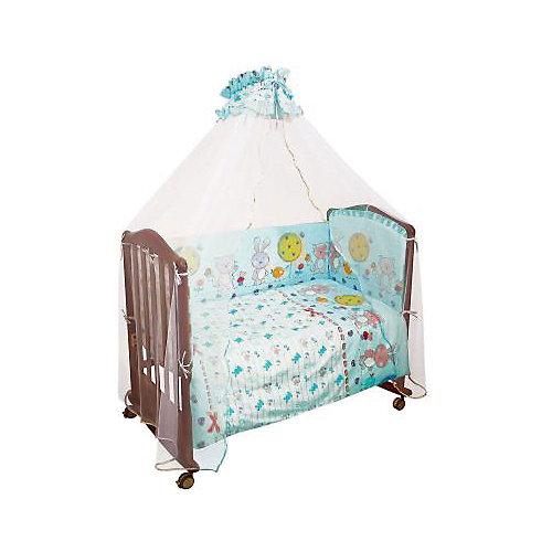 Комплект в кроватку 7 предметов Сонный гномик, Акварель, бирюзовый от Сонный гномик
