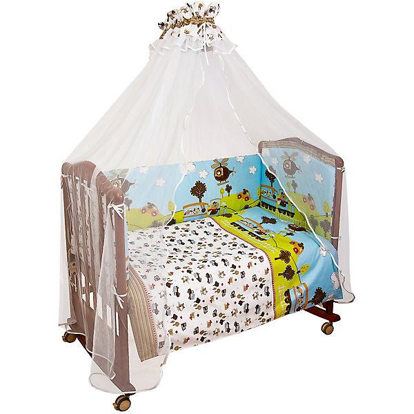Комплект в кроватку 7 предметов Сонный гномик, Каникулы, голубой