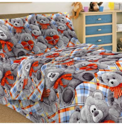 Детское постельное белье 1,5 сп. Letto, Тэдди, серый