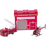 """Набор """"Пожарная станция с машинкой 7,5см и вертолетом"""", ТЕХНОПАРК"""