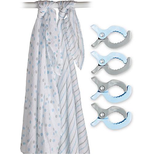 Муслиновая пелёнка 2 шт. с клипсами 4 шт., 120х120, Lulujo, синий от Lulujo