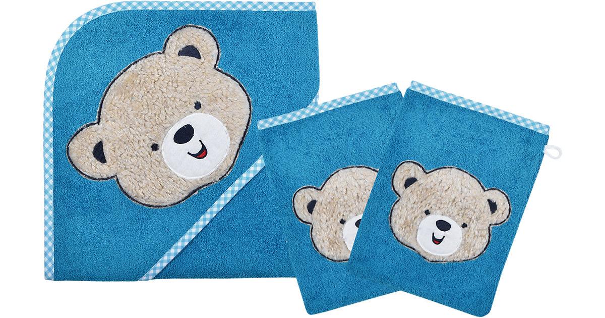 Wörner · Set Kapuzenbadetuch mit 2 Waschlappen, Bärchen, blau, 80 x 80 cm