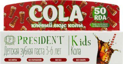 Зубная паста President Kids Кола, 3-6 лет, 50 мл