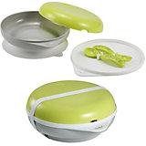Набор посуды: тарелка+крышка, вилка+ложка, Beaba, салатовый
