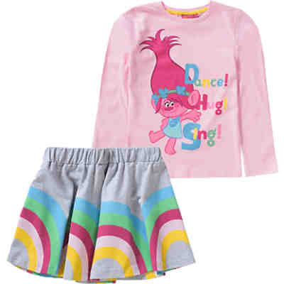 Trolls Kinder Set Langarmshirt & Rock