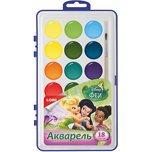 Акварель Disney Феи, 18 цветов, в пластике