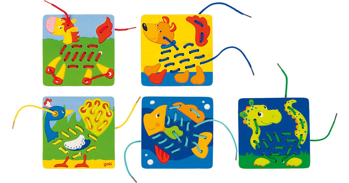 Fädelspiel mit 5 Grundplatten