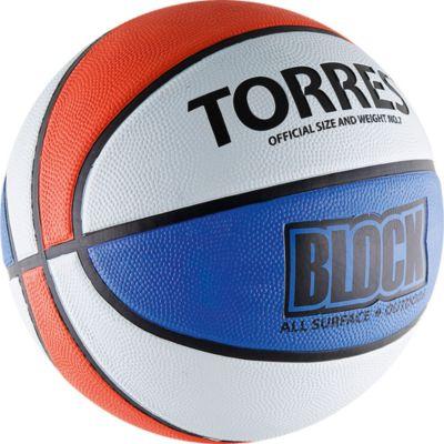 Баскетбольный мяч Block, р. 7, резина, бело-сине-красный, TORRES