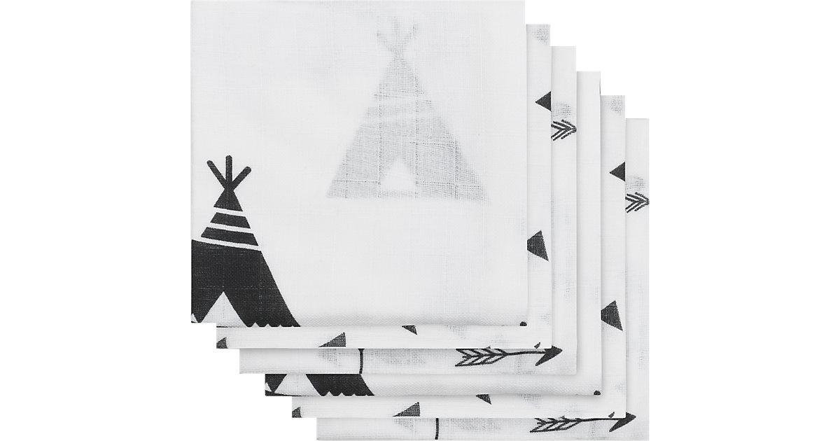 Jollein · Mullwindeln, Indianer, schwarz/weiß, 70 x 70 cm, 6er-Pack
