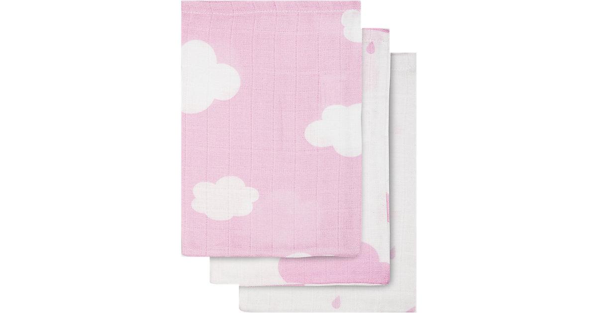 Jollein · Waschlappen, Mull, Wolken, rosa, 15 x 21 cm, 6er Pack