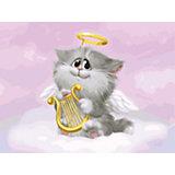 Живопись на холсте Белоснежка Котёнок-ангелочек, 30х40 см