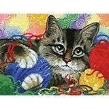 Картина по номерам  Белоснежка «Котик с клубочками», 40х30 см