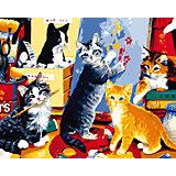 """Холст с красками по номерам """"Игривые котята"""" 40х50 см"""